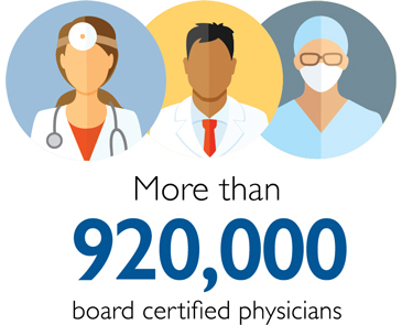 More than 920,000 board certified physicians
